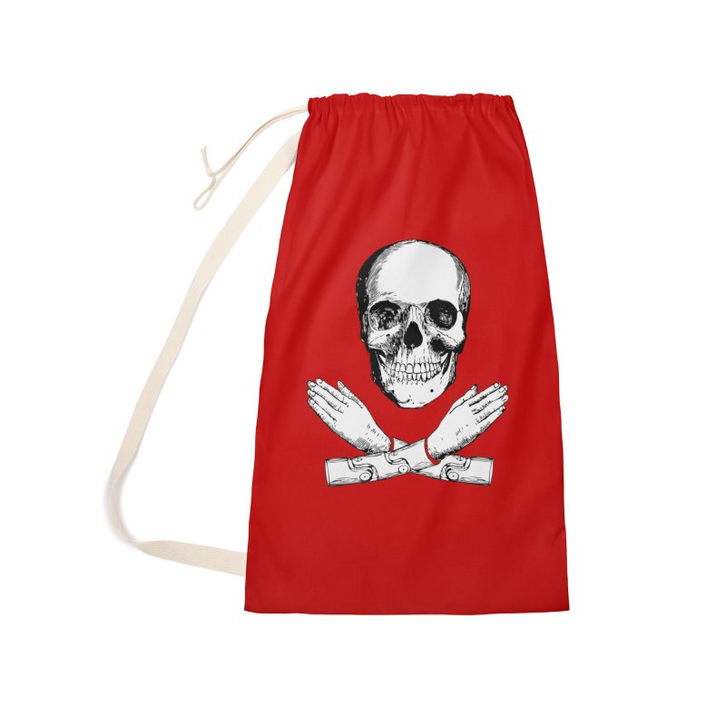 Skull and Mechanical Arms Accessories Laundry Bag Bag by Artist Shop of Pyramid Expander