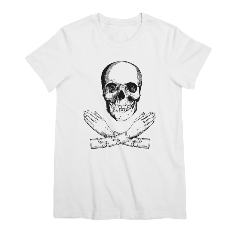 Skull and Mechanical Arms Women's Premium T-Shirt by Artist Shop of Pyramid Expander