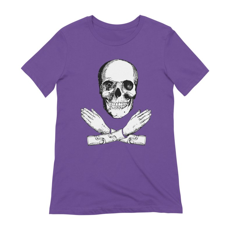 Skull and Mechanical Arms Women's Extra Soft T-Shirt by Artist Shop of Pyramid Expander