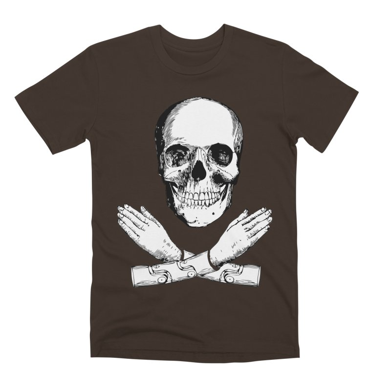 Skull and Mechanical Arms Men's Premium T-Shirt by Artist Shop of Pyramid Expander