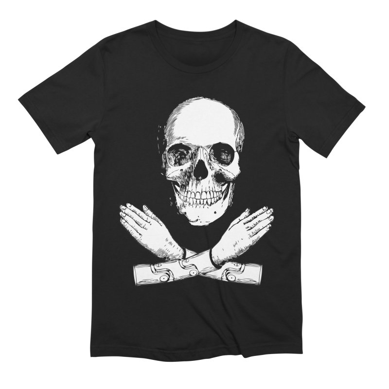 Skull and Mechanical Arms Men's Extra Soft T-Shirt by Artist Shop of Pyramid Expander