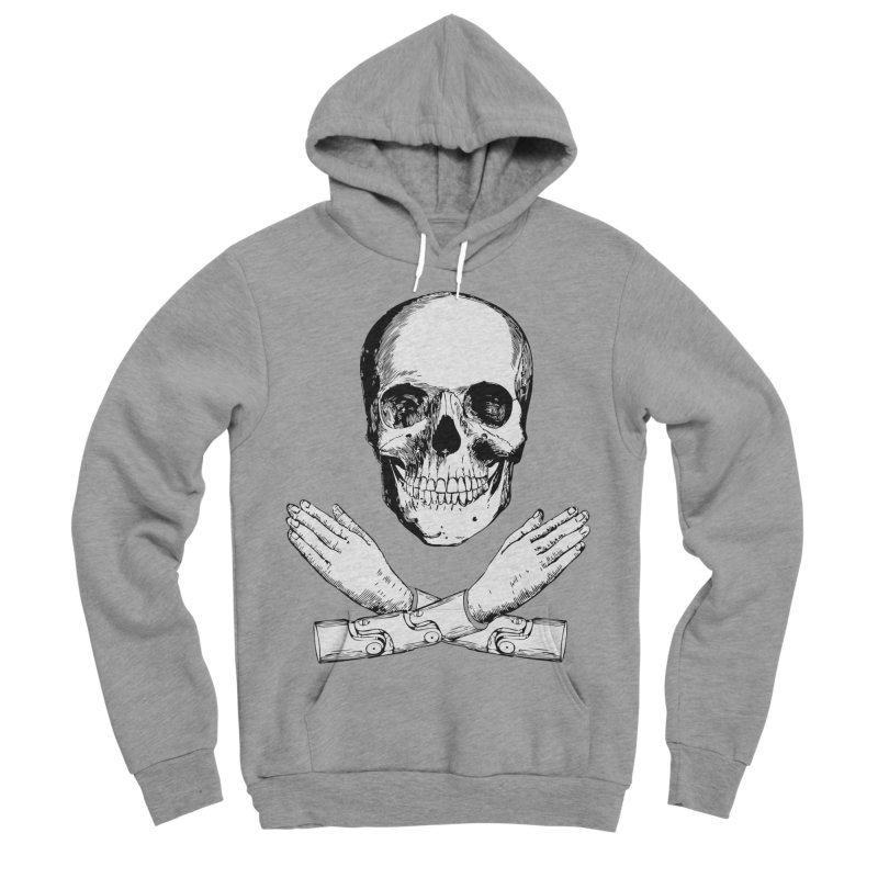 Skull and Mechanical Arms Men's Sponge Fleece Pullover Hoody by Artist Shop of Pyramid Expander