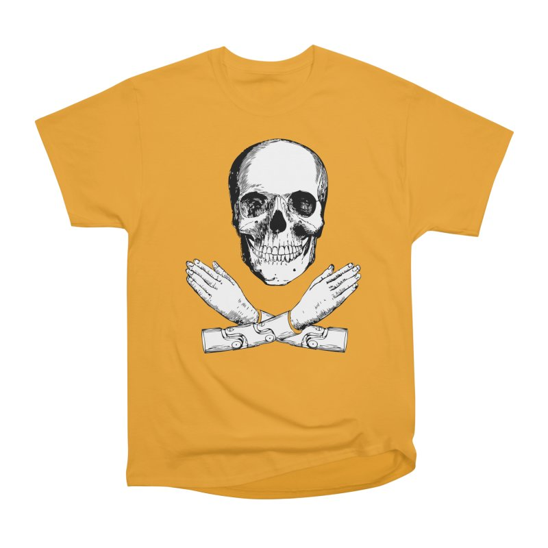 Skull and Mechanical Arms Men's T-Shirt by Artist Shop of Pyramid Expander