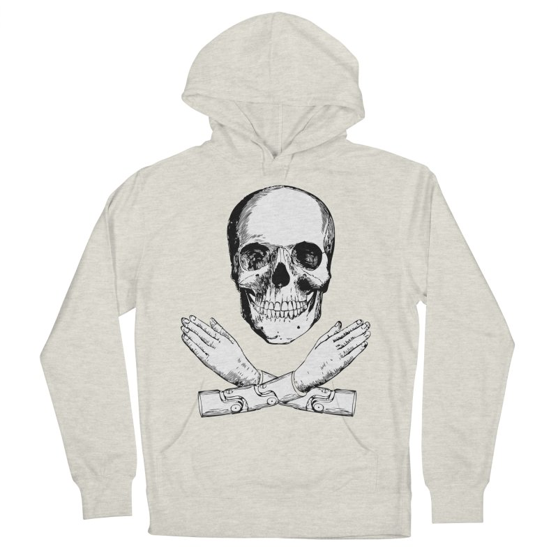 Skull and Mechanical Arms Men's French Terry Pullover Hoody by Artist Shop of Pyramid Expander