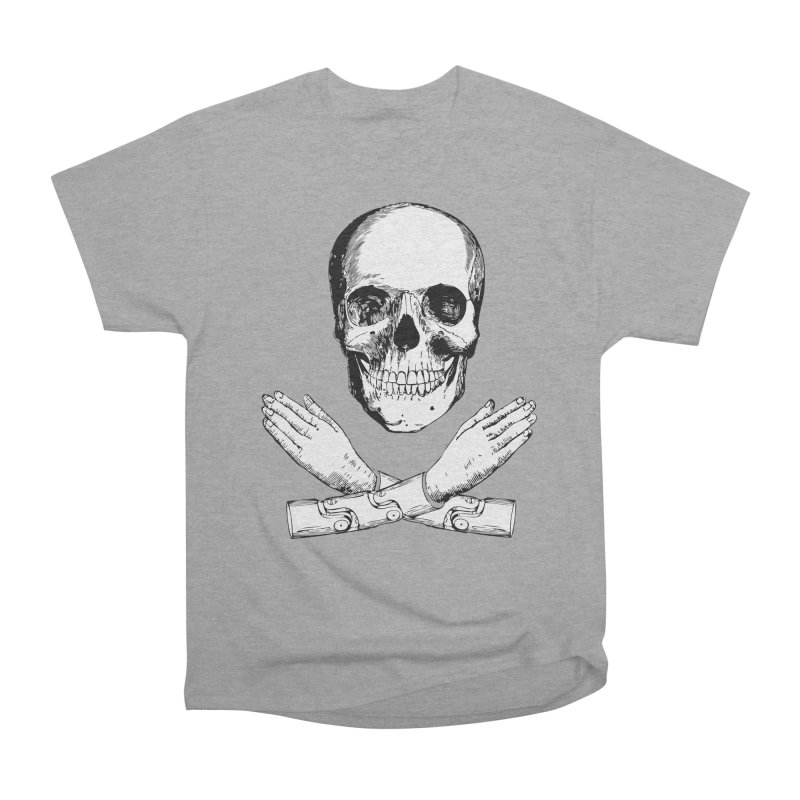 Skull and Mechanical Arms Men's Heavyweight T-Shirt by Artist Shop of Pyramid Expander