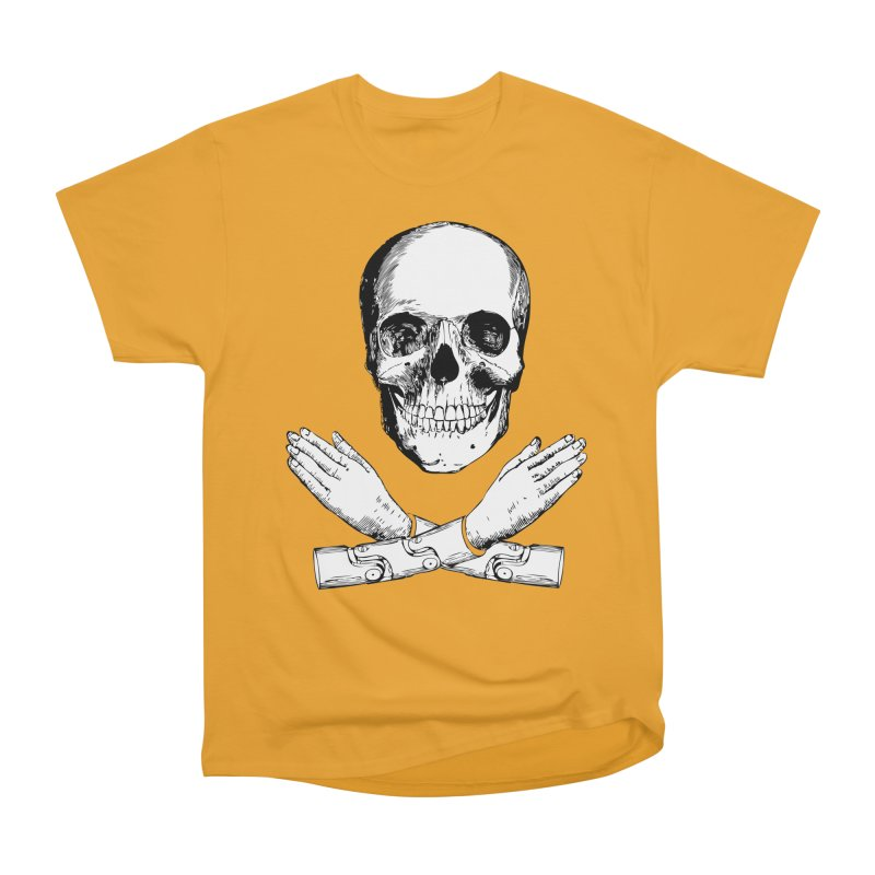 Skull and Mechanical Arms Women's Heavyweight Unisex T-Shirt by Artist Shop of Pyramid Expander