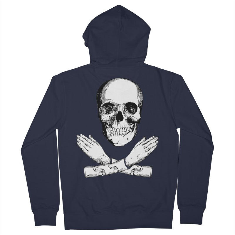 Skull and Mechanical Arms Men's French Terry Zip-Up Hoody by Artist Shop of Pyramid Expander
