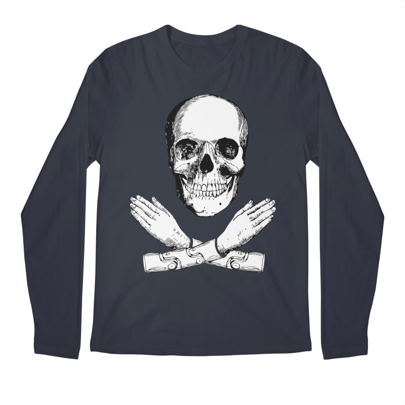 Skull and Mechanical Arms Men's Regular Longsleeve T-Shirt by Artist Shop of Pyramid Expander