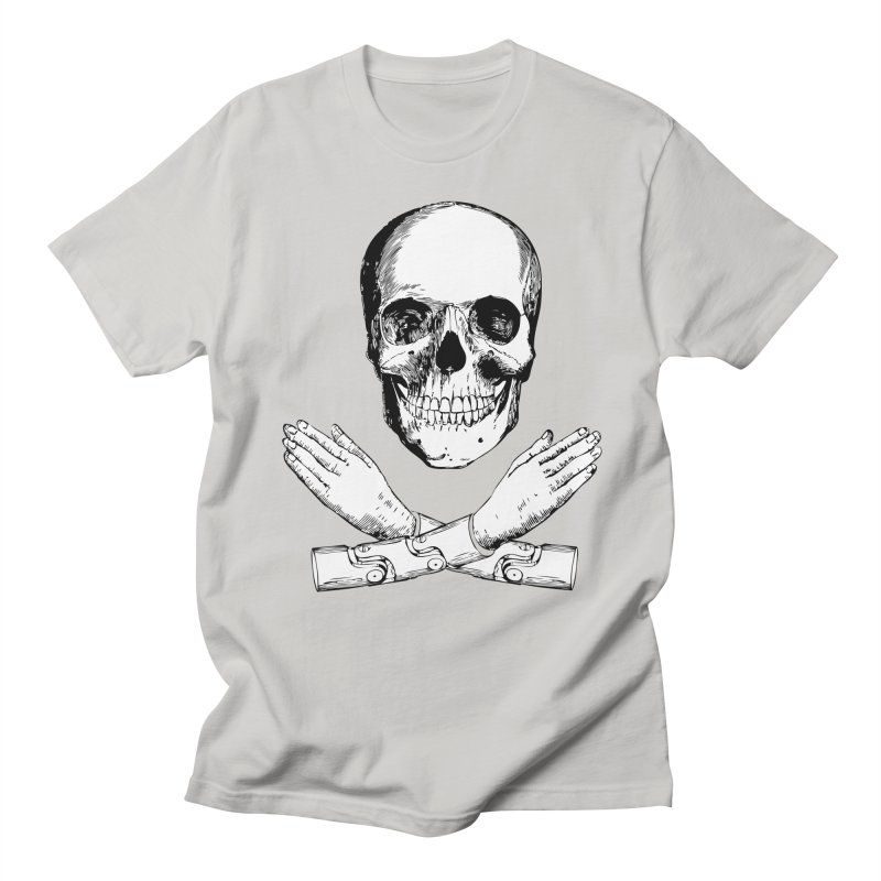 Skull and Mechanical Arms Men's Regular T-Shirt by Artist Shop of Pyramid Expander