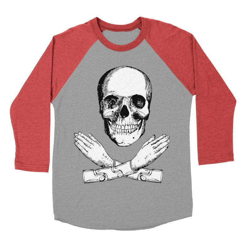 Skull and Mechanical Arms Women's Baseball Triblend Longsleeve T-Shirt by Artist Shop of Pyramid Expander
