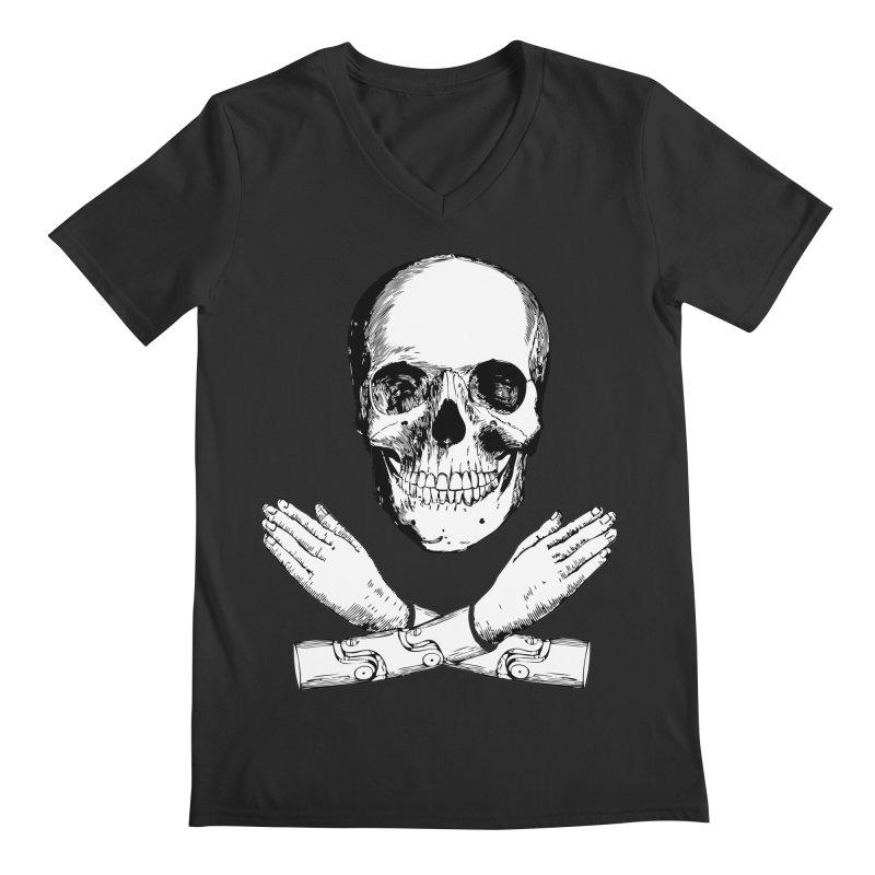 Skull and Mechanical Arms Men's Regular V-Neck by Artist Shop of Pyramid Expander