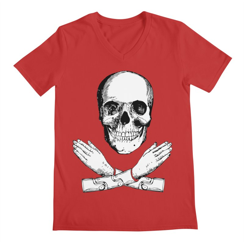 Skull and Mechanical Arms Men's Regular V-Neck by Artist Shop of Pyramid Expander