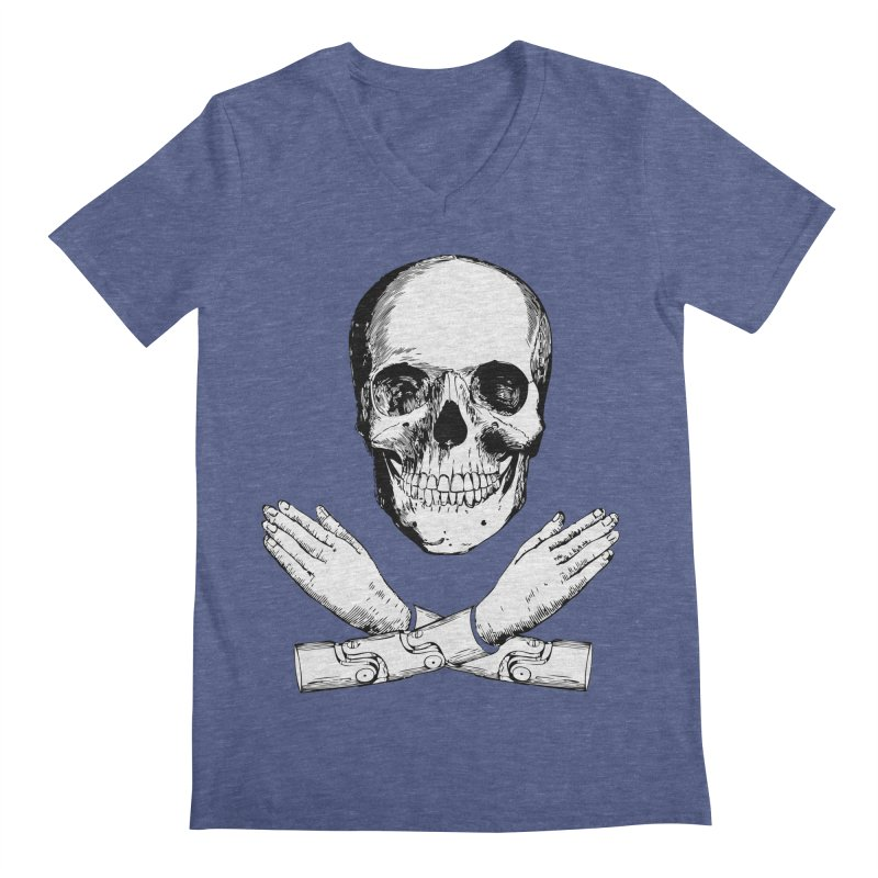 Skull and Mechanical Arms Men's V-Neck by Artist Shop of Pyramid Expander