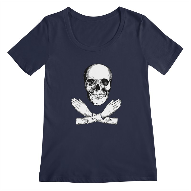Skull and Mechanical Arms Women's Regular Scoop Neck by Artist Shop of Pyramid Expander