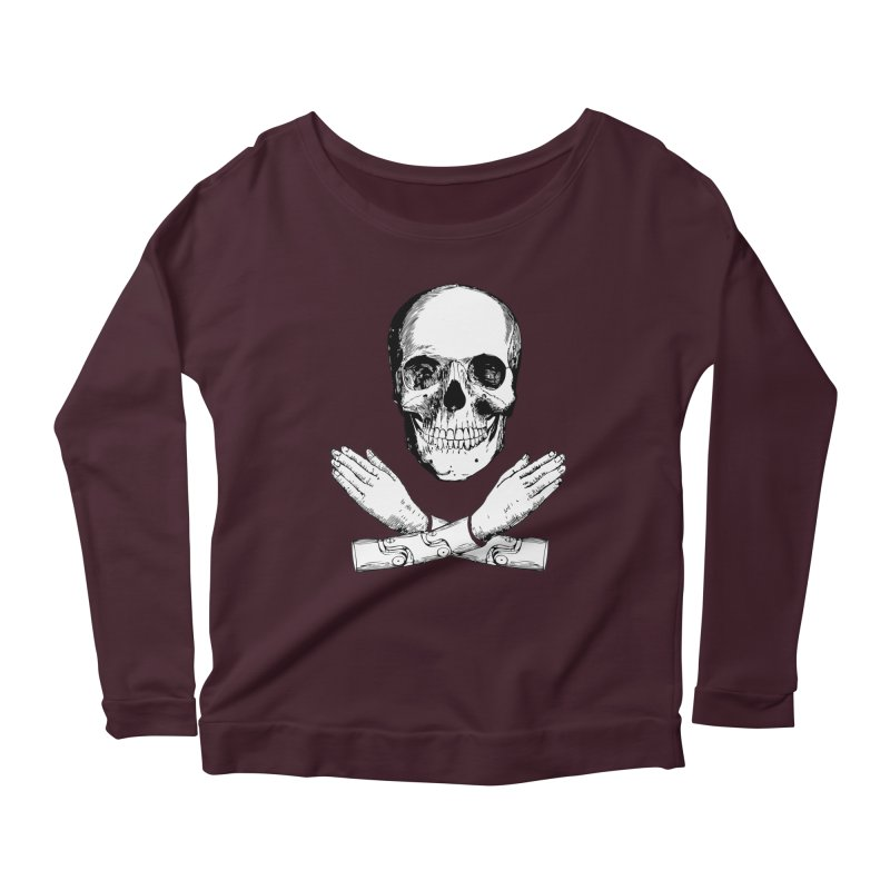 Skull and Mechanical Arms Women's Scoop Neck Longsleeve T-Shirt by Artist Shop of Pyramid Expander