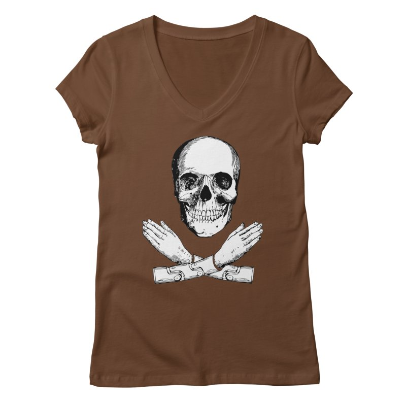Skull and Mechanical Arms Women's Regular V-Neck by Artist Shop of Pyramid Expander