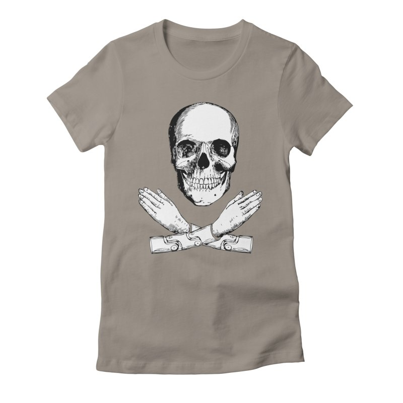 Skull and Mechanical Arms Women's Fitted T-Shirt by Artist Shop of Pyramid Expander
