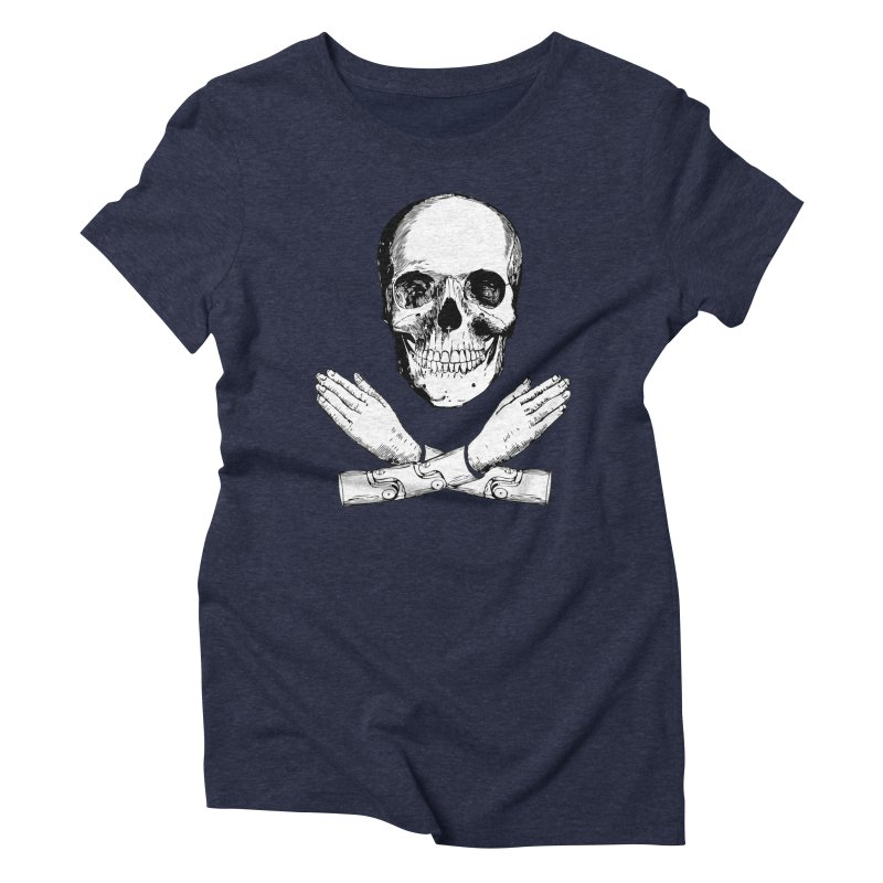 Skull and Mechanical Arms Women's Triblend T-Shirt by Artist Shop of Pyramid Expander