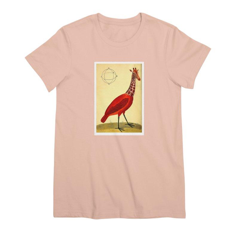 Bird Giraffe Women's Premium T-Shirt by Artist Shop of Pyramid Expander