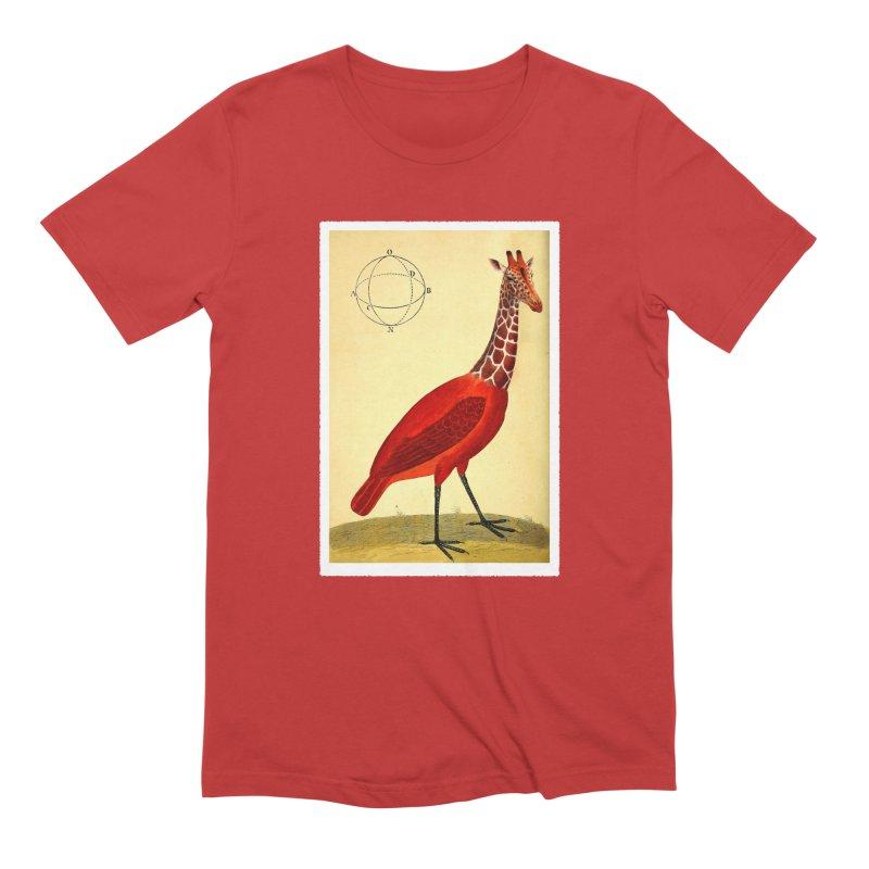 Bird Giraffe Men's Extra Soft T-Shirt by Artist Shop of Pyramid Expander