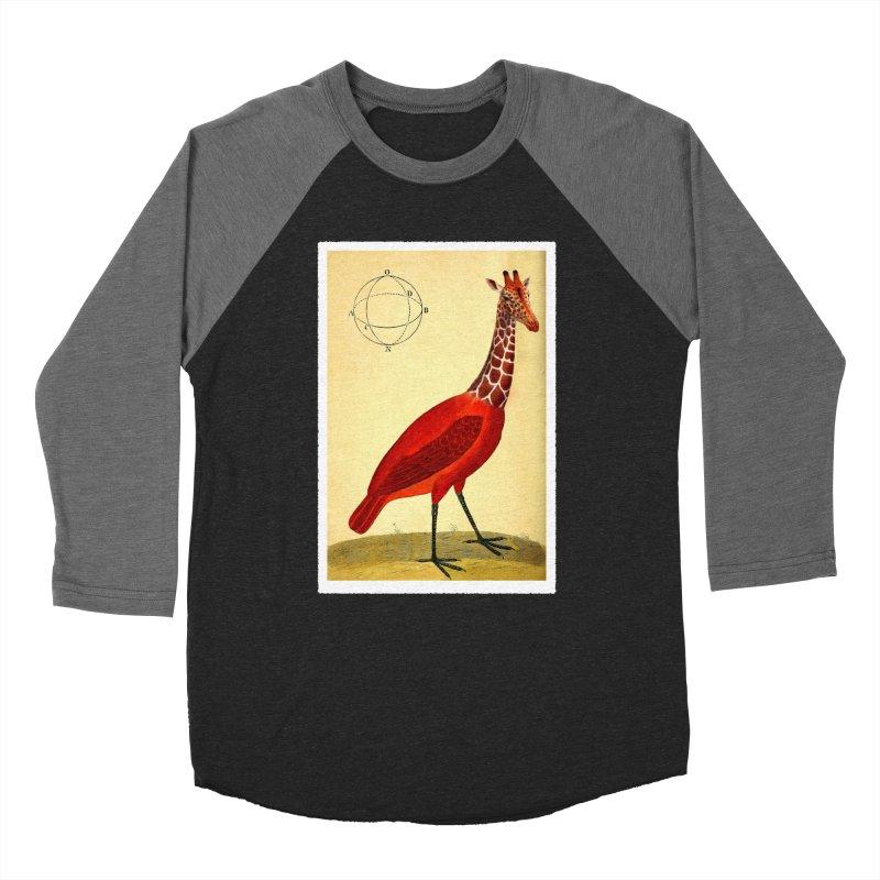 Bird Giraffe Men's Baseball Triblend Longsleeve T-Shirt by Artist Shop of Pyramid Expander