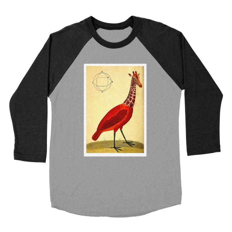 Bird Giraffe Men's Baseball Triblend T-Shirt by Artist Shop of Pyramid Expander