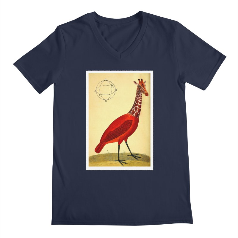 Bird Giraffe Men's Regular V-Neck by Artist Shop of Pyramid Expander