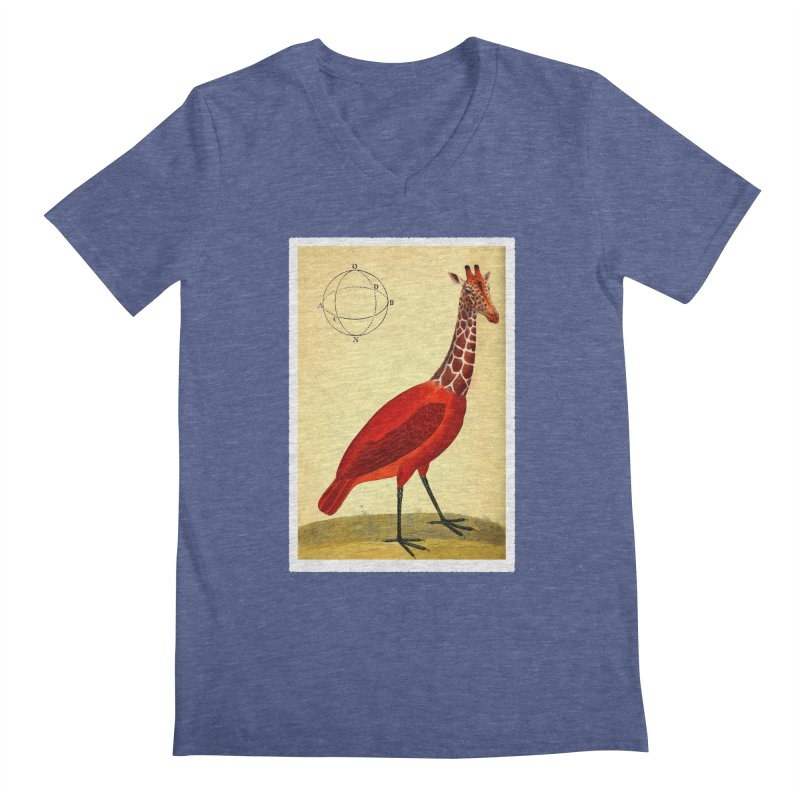 Bird Giraffe Men's V-Neck by Artist Shop of Pyramid Expander