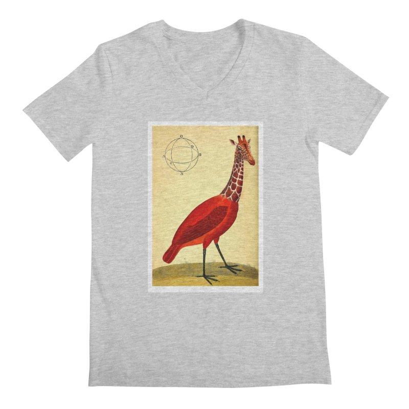 Bird Giraffe Men's Regular V-Neck by Artist Shop of Pyramid Expander