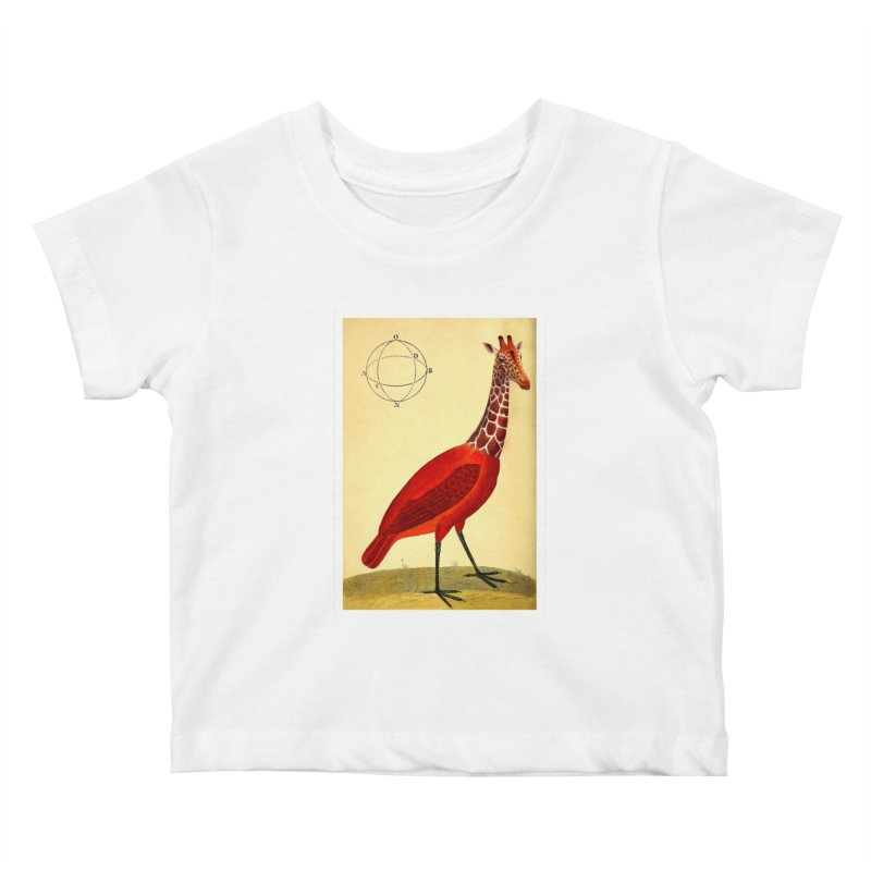 Bird Giraffe Kids Baby T-Shirt by Artist Shop of Pyramid Expander