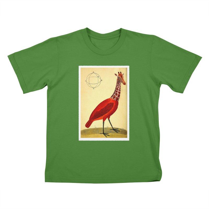Bird Giraffe Kids T-Shirt by Artist Shop of Pyramid Expander