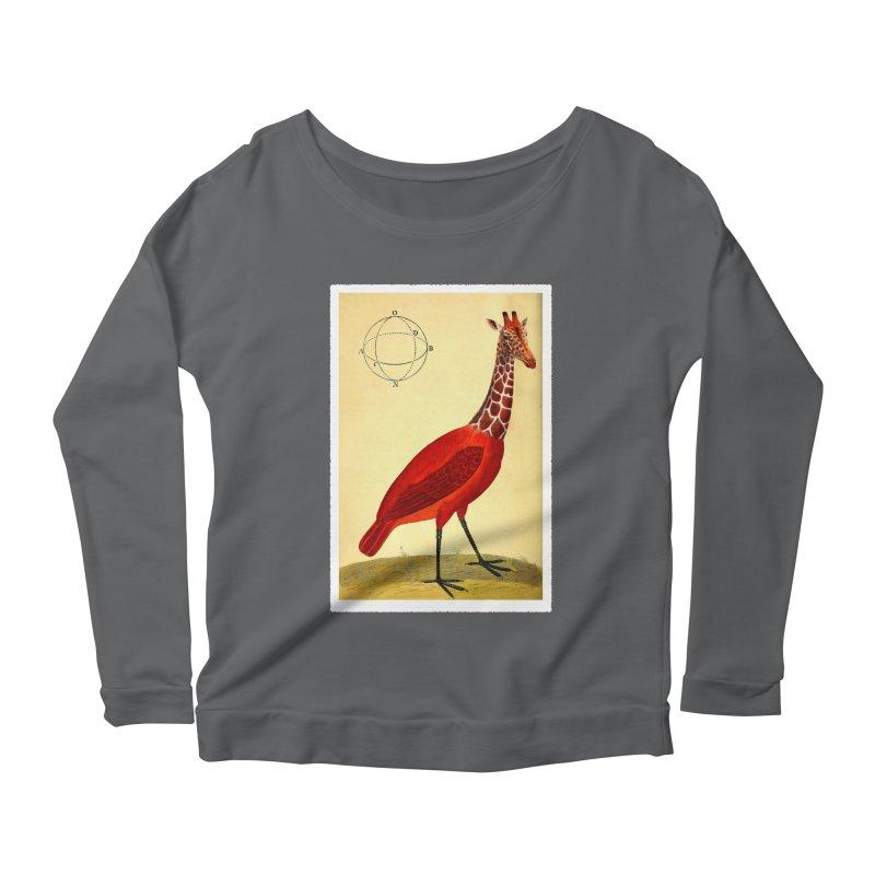 Bird Giraffe Women's Scoop Neck Longsleeve T-Shirt by Artist Shop of Pyramid Expander