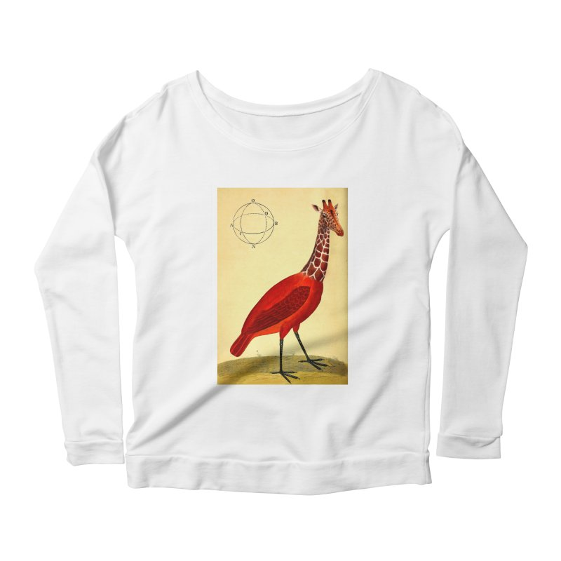 Bird Giraffe Women's Longsleeve Scoopneck  by Artist Shop of Pyramid Expander