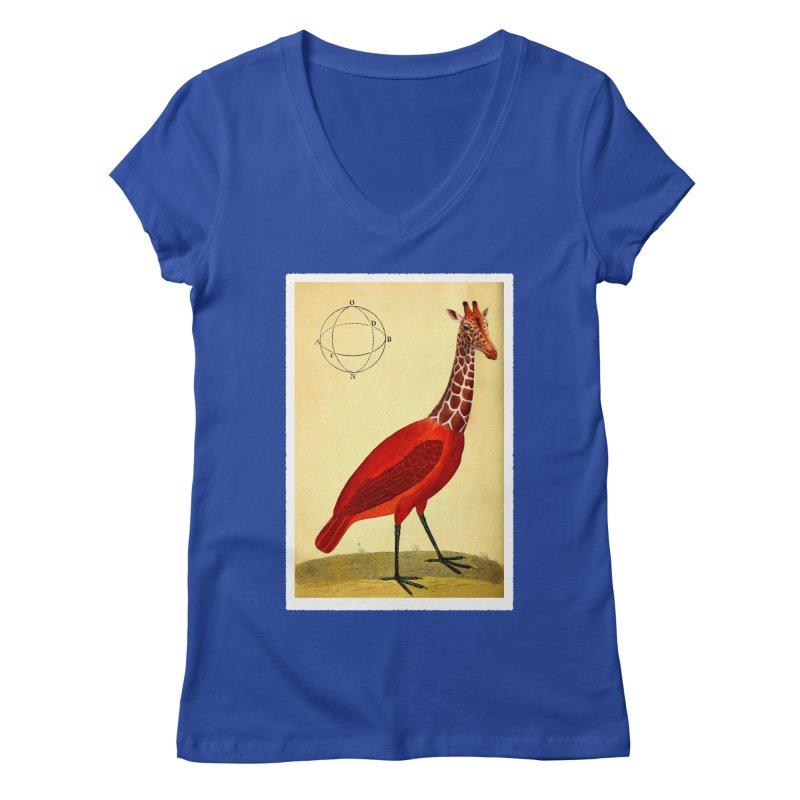 Bird Giraffe Women's V-Neck by Artist Shop of Pyramid Expander