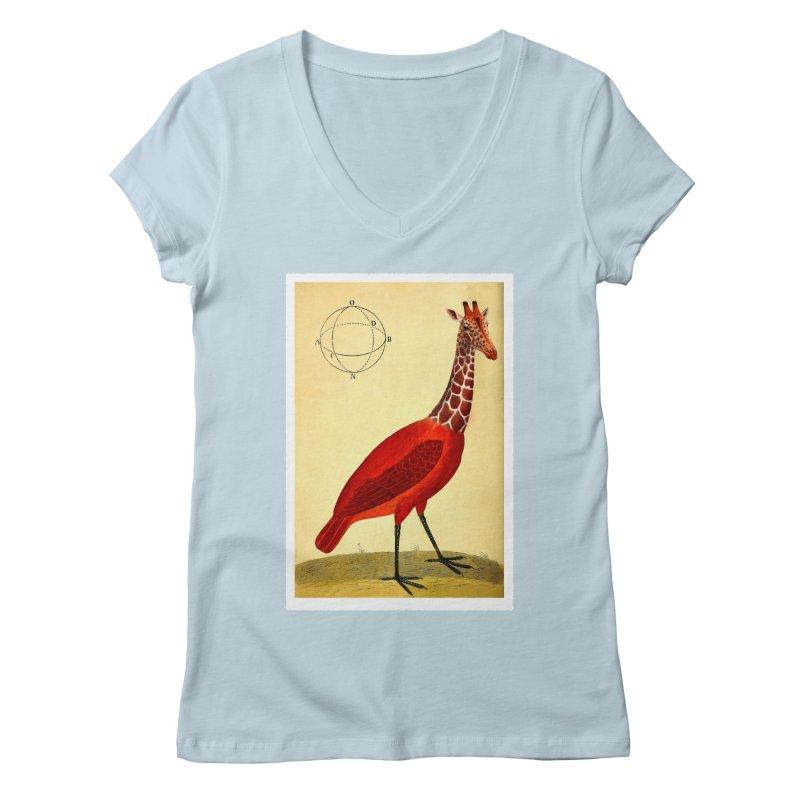 Bird Giraffe Women's Regular V-Neck by Artist Shop of Pyramid Expander