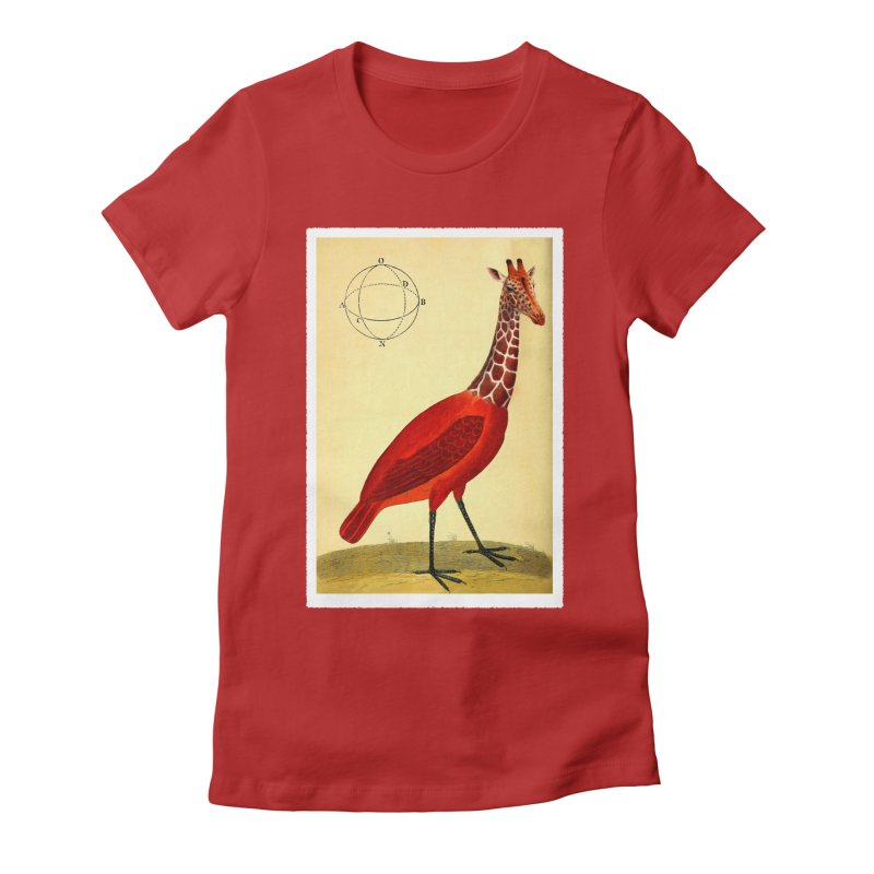 Bird Giraffe in Women's Fitted T-Shirt Red by Artist Shop of Pyramid Expander