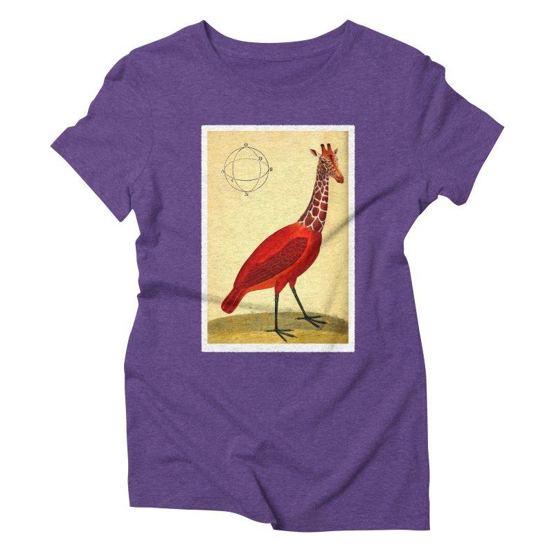 Bird Giraffe Women's Triblend T-shirt by Artist Shop of Pyramid Expander