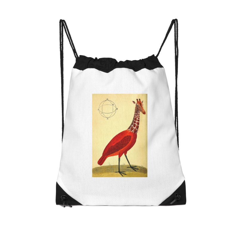 Bird Giraffe Accessories Drawstring Bag Bag by Artist Shop of Pyramid Expander
