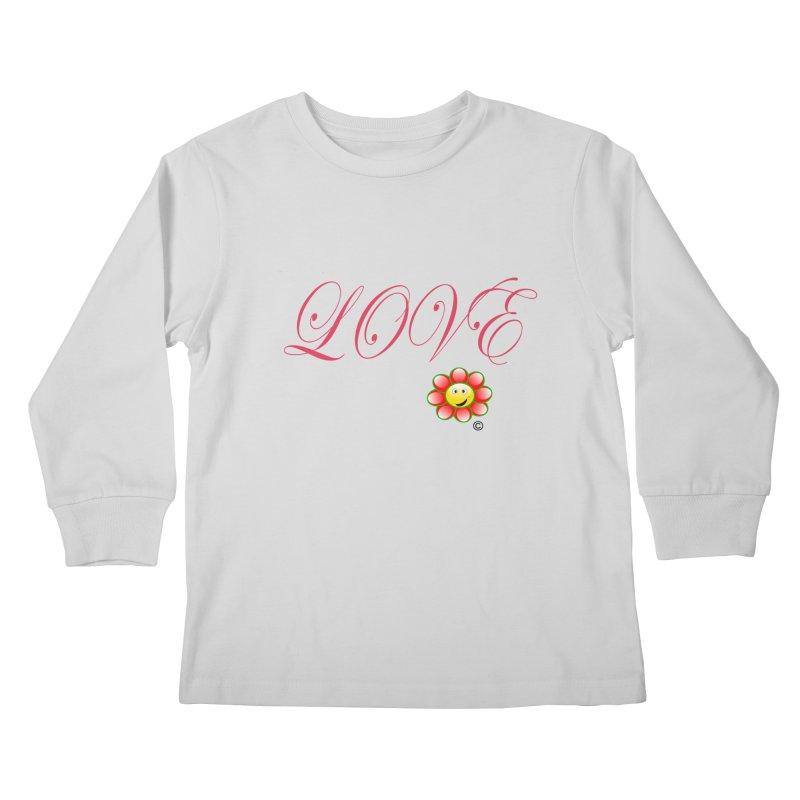 HAPPY FLOWER LOVE in Kids Longsleeve T-Shirt Heather Grey by PZTV ART CO's Artist Shop
