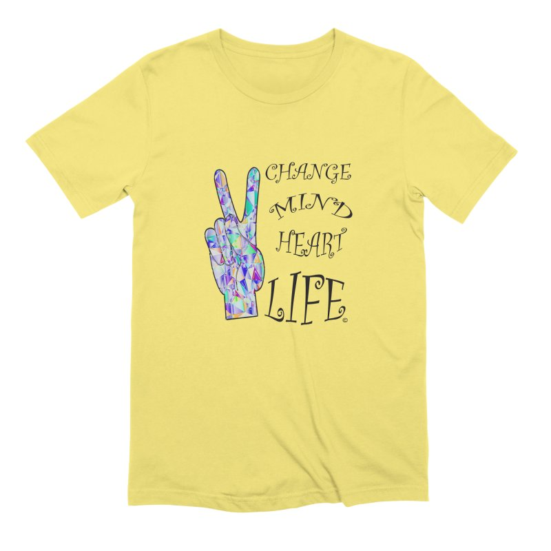 CHANGE MIND HEART LIFE 01 in Men's Extra Soft T-Shirt Light Yellow by PZTV ART CO's Artist Shop