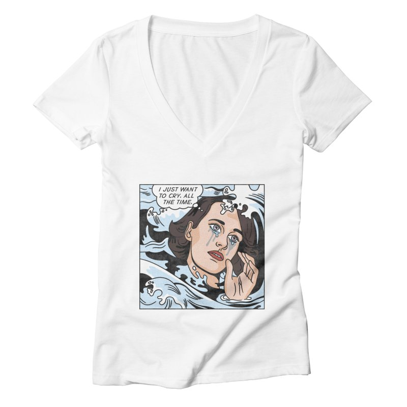 Drowning in Tears Women's Deep V-Neck V-Neck by Quick Brown Fox