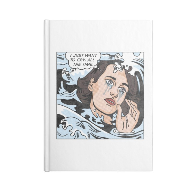 Drowning in Tears Accessories Blank Journal Notebook by Quick Brown Fox