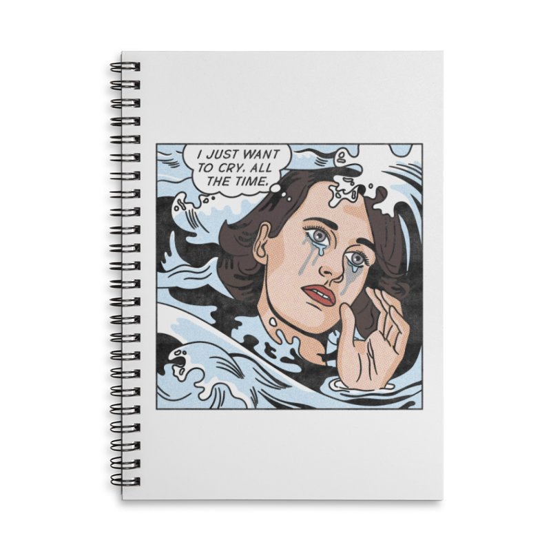 Drowning in Tears Accessories Lined Spiral Notebook by Quick Brown Fox