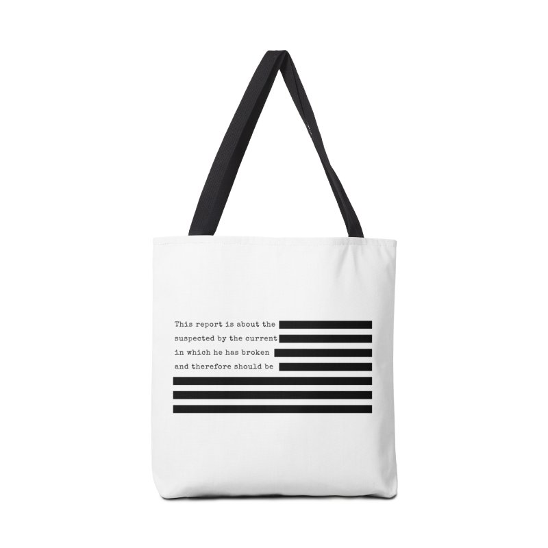 Redacted Accessories Tote Bag Bag by Quick Brown Fox