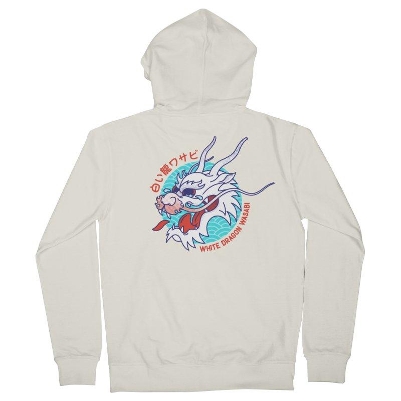 White Dragon Wasabi Men's Zip-Up Hoody by Quick Brown Fox