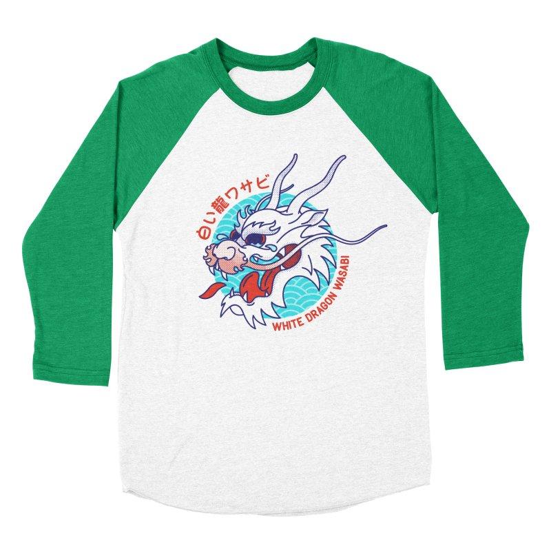 White Dragon Wasabi Men's Baseball Triblend T-Shirt by Quick Brown Fox