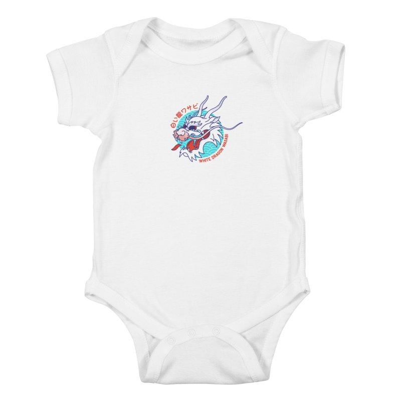 White Dragon Wasabi Kids Baby Bodysuit by Quick Brown Fox