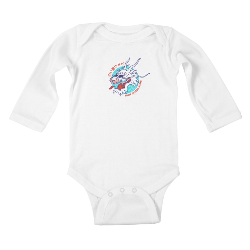 White Dragon Wasabi Kids Baby Longsleeve Bodysuit by Quick Brown Fox