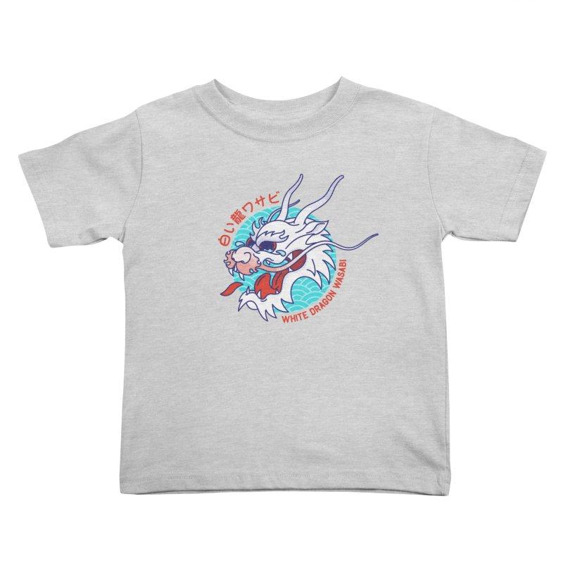 White Dragon Wasabi Kids Toddler T-Shirt by Quick Brown Fox