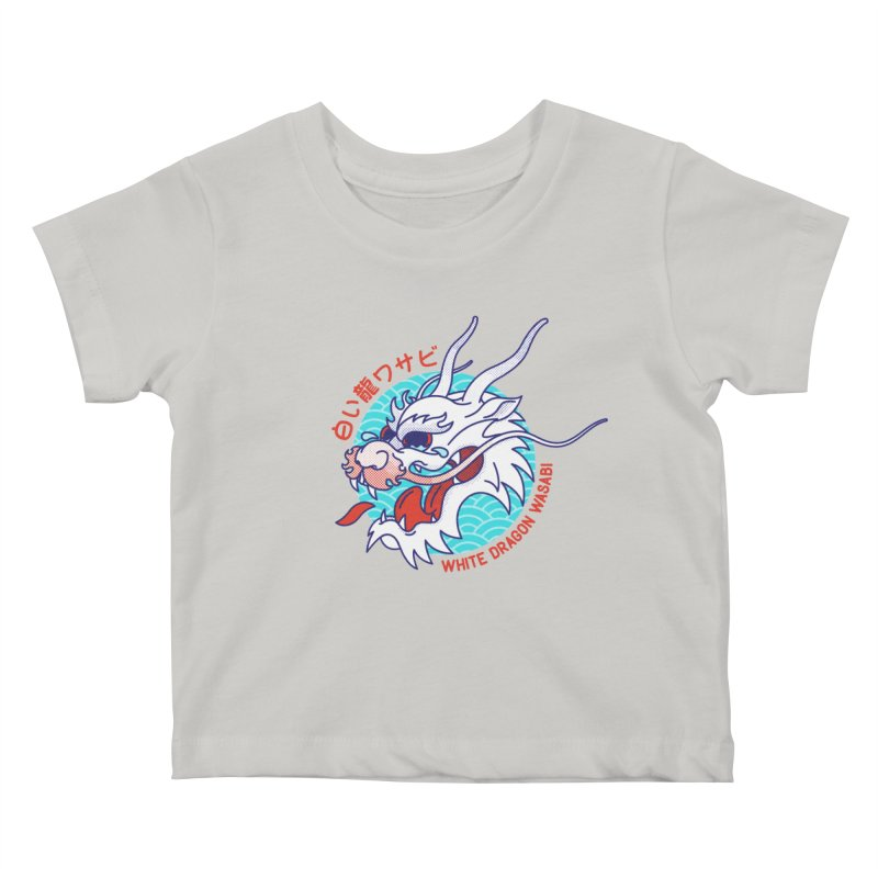 White Dragon Wasabi Kids Baby T-Shirt by Quick Brown Fox